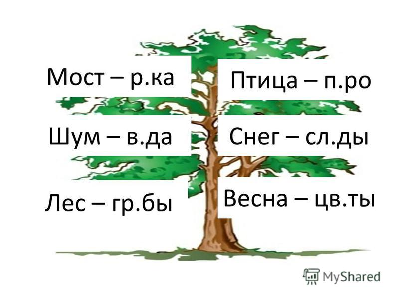Лес – гр.бы Мост – р.ка Шум – в.да Снег – сл.ты Весна – цв.ты Птица – п.ро
