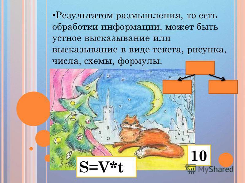 Результатом размышления, то есть обработки информации, может быть устное высказывание или высказывание в виде текста, рисунка, числа, схемы, формулы. S=V*t 10