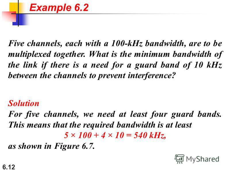 6.12 Five channels, each with a 100-kHz bandwidth, are to be multiplexed together. What is the minimum bandwidth of the link if there is a need for a guard band of 10 kHz between the channels to prevent interference? Solution For five channels, we ne