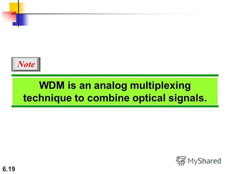 6.19 WDM is an analog multiplexing technique to combine optical signals. Note