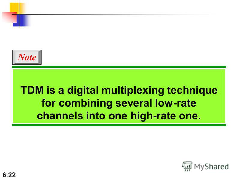 6.22 TDM is a digital multiplexing technique for combining several low-rate channels into one high-rate one. Note