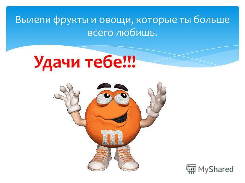 Вылепи фрукты и овощи, которые ты больше всего любишь. Удачи тебе!!!