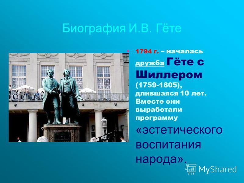 Биография И.В. Гёте 1794 г. – началась дружба Гёте с Шиллером (1759-1805), длившаяся 10 лет. Вместе они выработали программу «эстетического воспитания народа».