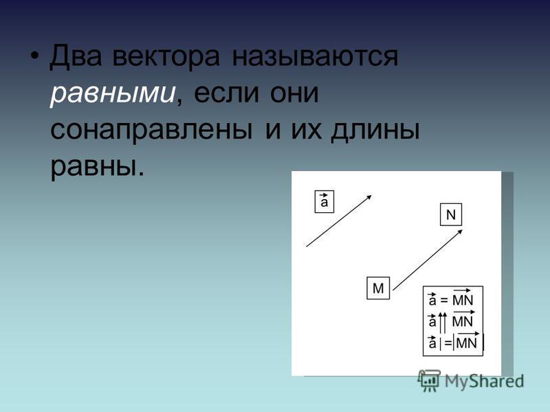 Два вектора называются равными, если они сонаправлены и их длины равны.