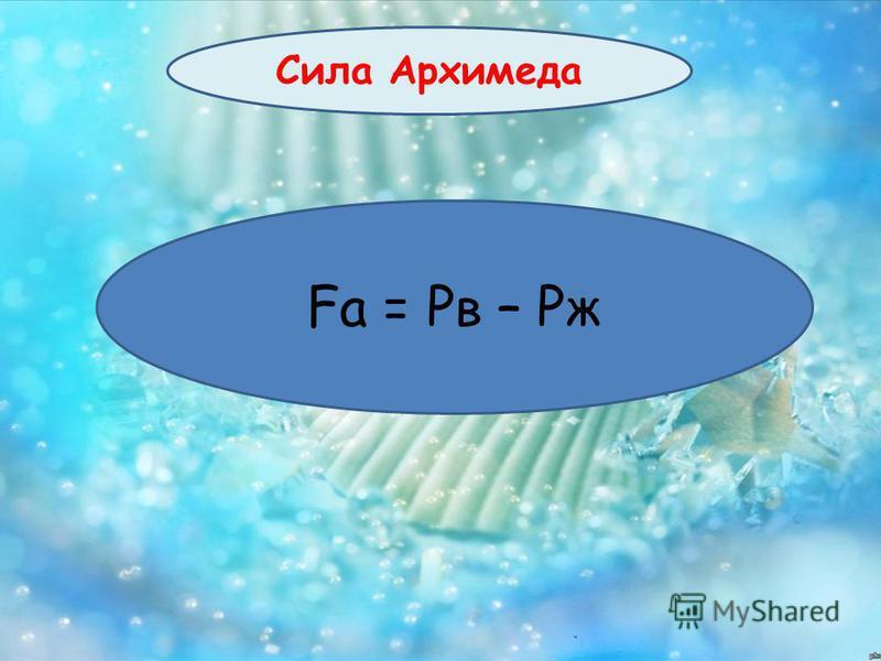 Сила Архимеда Fа = Рв – Рж