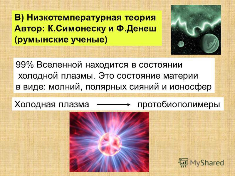 В) Низкотемпературная теория Автор: К.Симонеску и Ф.Денеш (румынские ученые) 99% Вселенной находится в состоянии холодной плазмы. Это состояние материи в виде: молний, полярных сияний и ионосфер Холодная плазма протобиополимеры