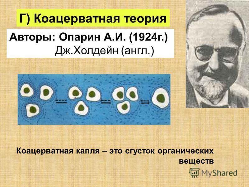 Г) Коацерватная теория Авторы: Опарин А.И. (1924 г.) Дж.Холдейн (англ.) Коацерватная капля – это сгусток органических веществ