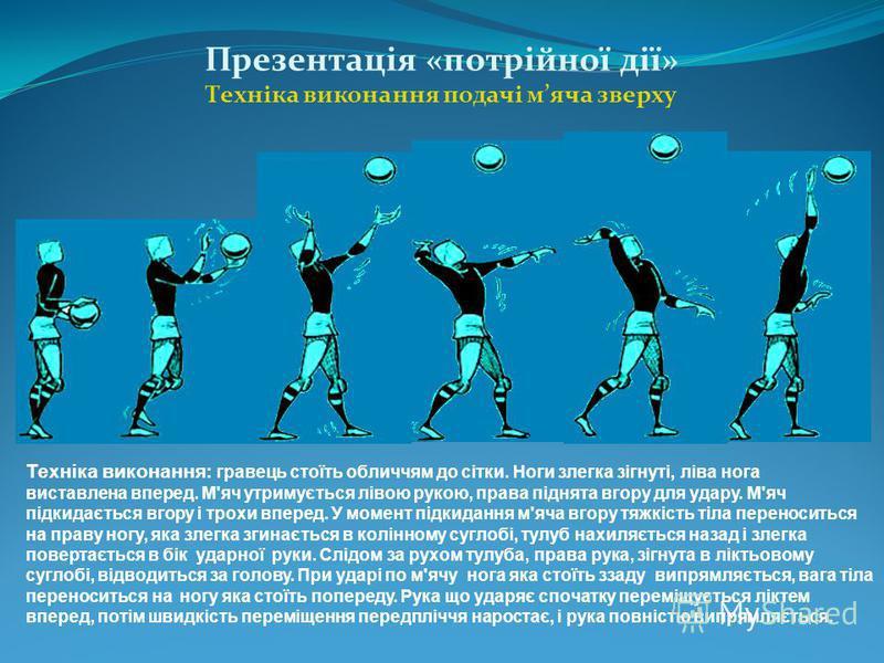 Презентація «потрійної дії» Техніка виконання подачі мяча зверху Техніка виконання : гравець стоїть обличчям до сітки. Ноги злегка зігнуті, ліва нога виставлена вперед. М'яч утримується лівою рукою, права піднята вгору для удару. М'яч підкидається вг