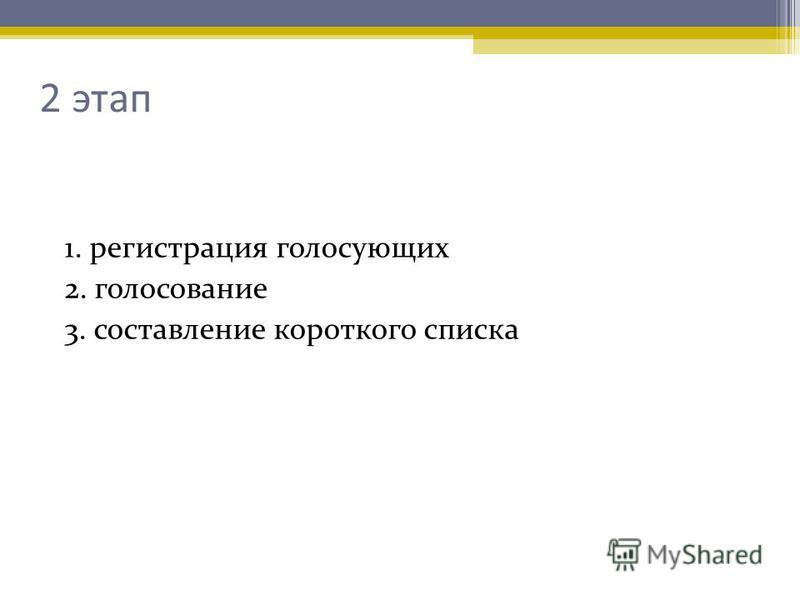 2 этап 1. регистрация голосующих 2. голосование 3. составление короткого списка