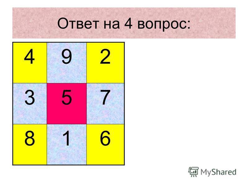 Ответ на 4 вопрос: 492 357 816