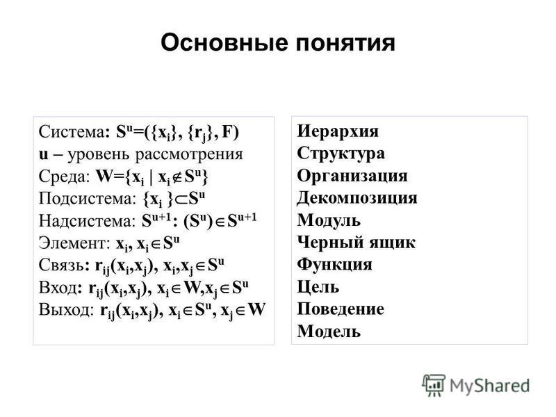 Основные понятия Система: S u =({x i }, {r j }, F) u – уровень рассмотрения Среда: W={x i | x i S u } Подсистема: {x i } S u Надсистема: S u+1 : (S u ) S u+1 Элемент: x i, x i S u Связь: r ij (x i,x j ), x i,x j S u Вход: r ij (x i,x j ), x i W,x j S