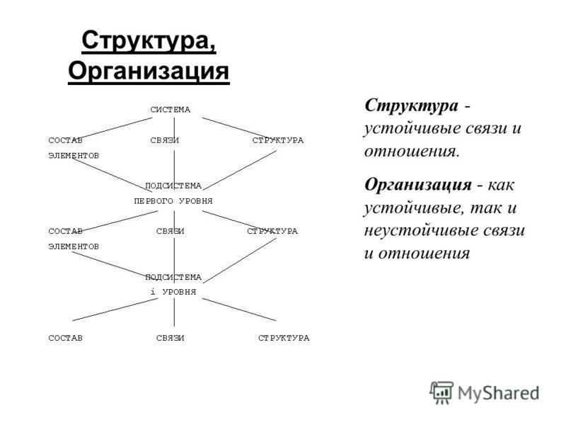 Структура, Организация Структура - устойчивые связи и отношения. Организация - как устойчивые, так и неустойчивые связи и отношения