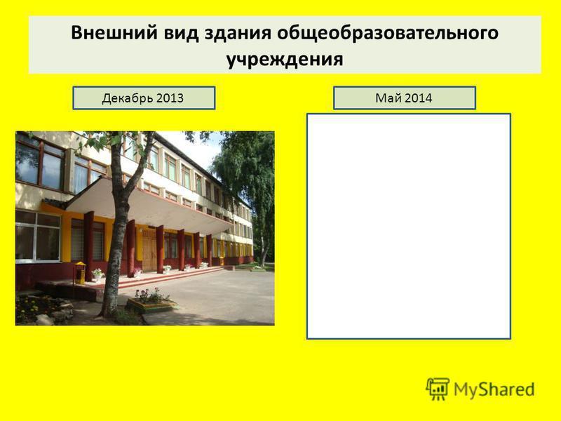 Внешний вид здания общеобразовательного учреждения Декабрь 2013Май 2014