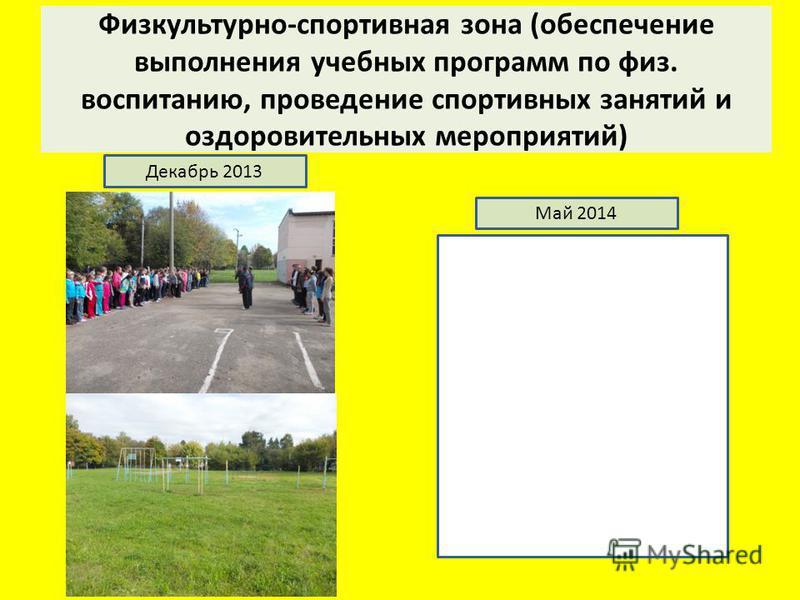 Физкультурно-спортивная зона (обеспечение выполнения учебных программ по физ. воспитанию, проведение спортивных занятий и оздоровительных мероприятий) Декабрь 2013 Май 2014