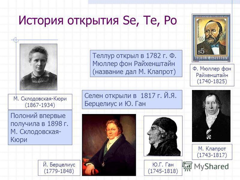 История открытия Se, Te, Po Теллур открыл в 1782 г. Ф. Мюллер фон Райхенштайн (название дал М. Клапрот) Селен открыли в 1817 г. Й.Я. Берцелиус и Ю. Ган Полоний впервые получила в 1898 г. М. Склодовская- Кюри М. Клапрот (1743-1817) Ф. Мюллер фон Райхе