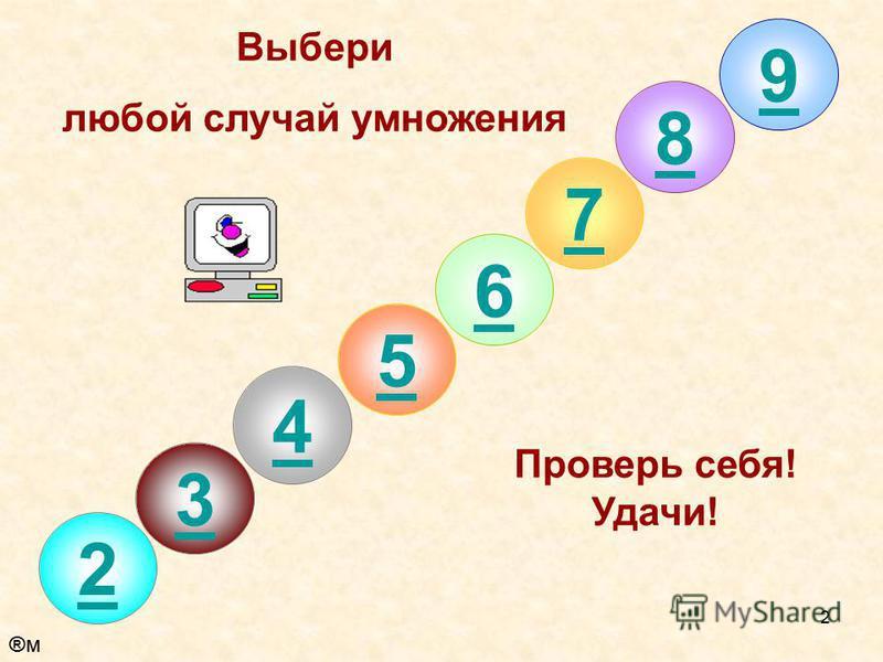 2 8 7 6 5 4 3 2 Выбери любой случай умножения Проверь себя! Удачи! 9 ®м®м