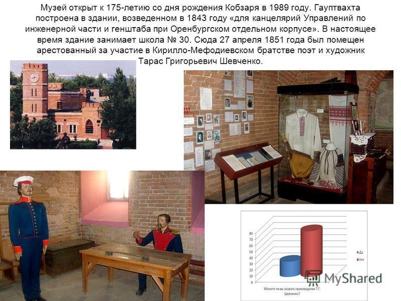 Музей открыт к 175-летию со дня рождения Кобзаря в 1989 году. Гауптвахта построена в здании, возведенном в 1843 году «для канцелярий Управлений по инженерной части и генштаба при Оренбургском отдельном корпусе». В настоящее время здание занимает школ