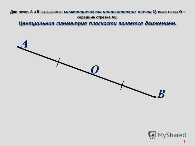 5 Две точки А и В называются симметричными относительно точки О, если точка О – середина отрезка АВ. Центральная симметрия плоскости является движением..А.В.О