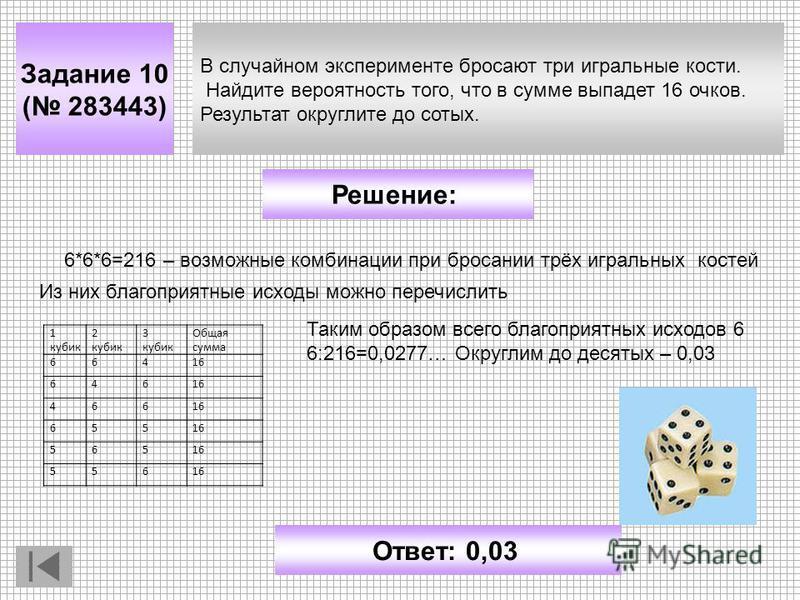 В случайном эксперименте бросают три игральные кости. Найдите вероятность того, что в сумме выпадет 16 очков. Результат округлите до сотых. Задание 10 ( 283443) Решение: Ответ: 0,03 6*6*6=216 – возможные комбинации при бросании трёх игральных костей