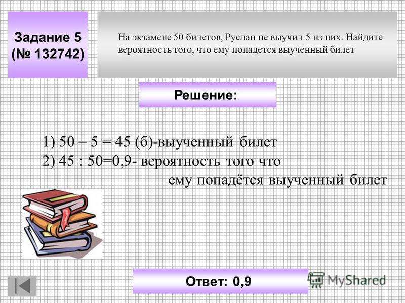 Задание 5 ( 132742) Ответ: 0,9 Решение: На экзамене 50 билетов, Руслан не выучил 5 из них. Найдите вероятность того, что ему попадется выученный билет 1) 50 – 5 = 45 (б)-выученный билет 2) 45 : 50=0,9- вероятность того что ему попадётся выученный бил