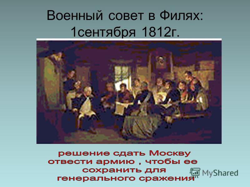 Военный совет в Филях: 1 сентября 1812 г.