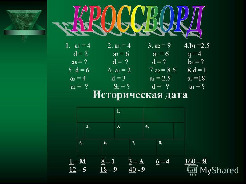 1 строчка. 1. Дано a 1 = 11, a 2 = 20. Найти d. 2 строчка. Дано a 1 = 3, d= 2. Найти a 6. Дано a 8 = 5, a 15 = 12. Найти d. Дано b 1 = 8, b 2 = 24. Найти q. Дано b 1 = 0,5, q= 2. Найти b 4. Дано a 4 = 16, d= 3. Найти a 1. Дано b 3 = 24, q= 2. Найти b