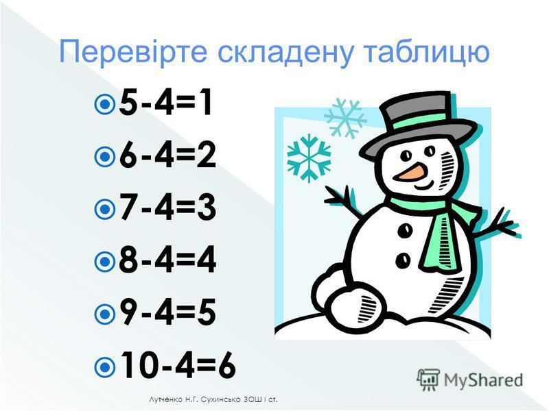 Лутченко Н.Г. Сухинська ЗОШ І ст. 10-4= 4 5 6
