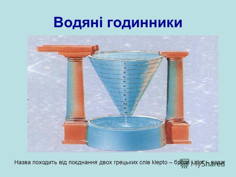 Водяні годинники Назва походить від поєднання двох грецьких слів klepto – брати і idor – вода