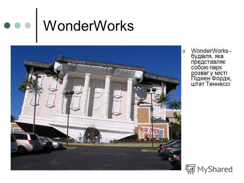 WonderWorks WonderWorks - будівля, яка представляє собою парк розваг у місті Піджен Фордж, штат Теннессі