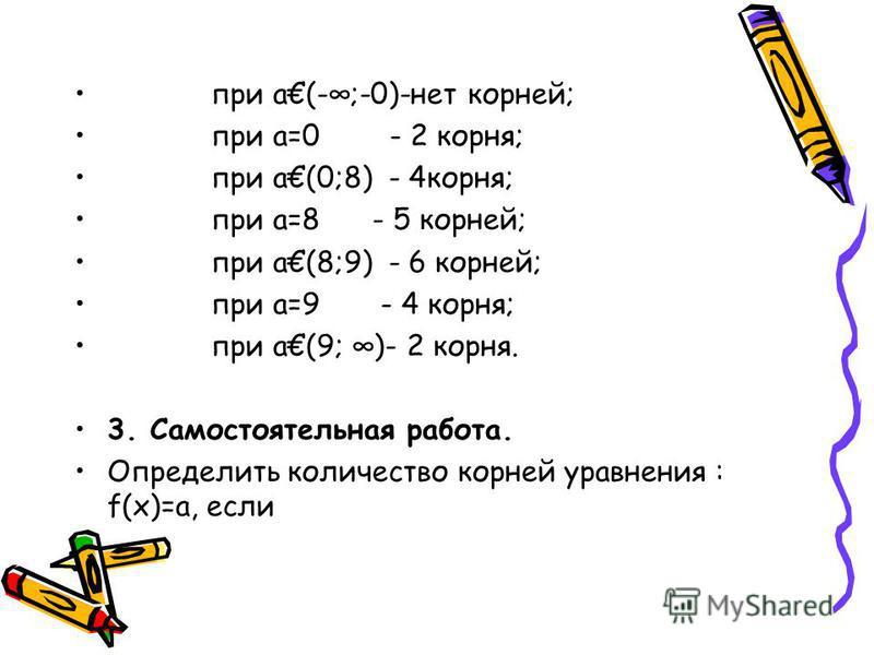 при а(-;-0)-нет корней; при а=0 - 2 корня; при а(0;8) - 4 корня; при а=8 - 5 корней; при а(8;9) - 6 корней; при а=9 - 4 корня; при а(9; )- 2 корня. 3. Самостоятельная работа. Определить количество корней уравнения : f(х)=а, если