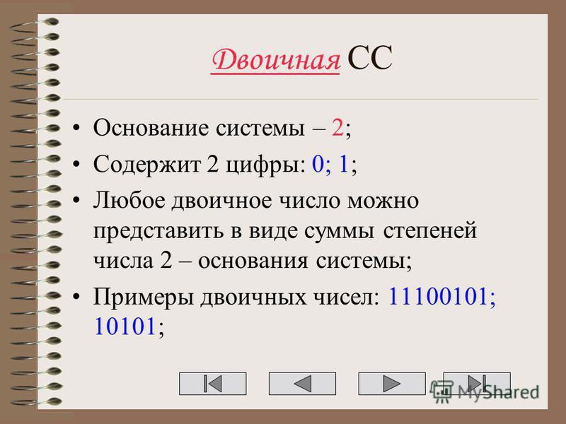 Двоичная СС Основание системы – 2; Содержит 2 цифры: 0; 1; Любое двоичное число можно представить в виде суммы степеней числа 2 – основания системы; Примеры двоичных чисел: 11100101; 10101;