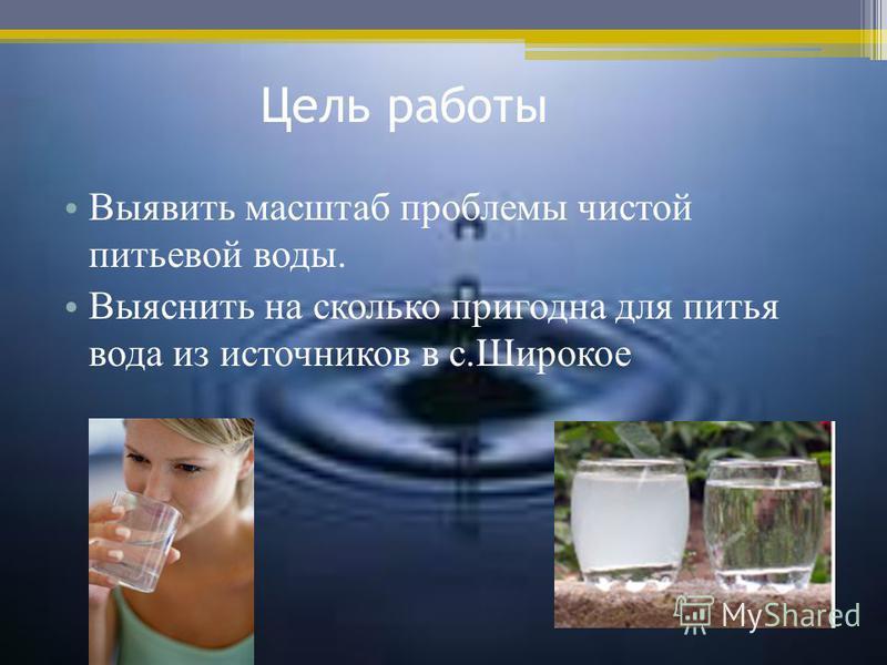 Цель работы Выявить масштаб проблемы чистой питьевой воды. Выяснить на сколько пригодна для питья вода из источников в с.Широкое