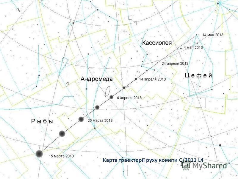 Карта траекторії руху комети C/2011 L4