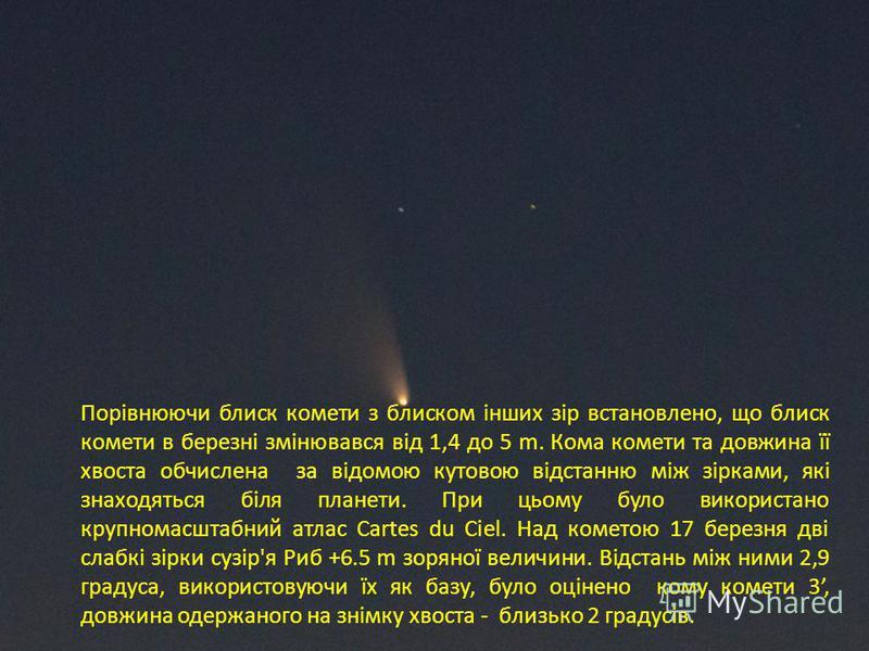 Порівнюючи блиск комети з блиском інших зір встановлено, що блиск комети в березні змінювався від 1,4 до 5 m. Кома комети та довжина її хвоста обчислена за відомою кутовою відстанню між зірками, які знаходяться біля планети. При цьому було використан