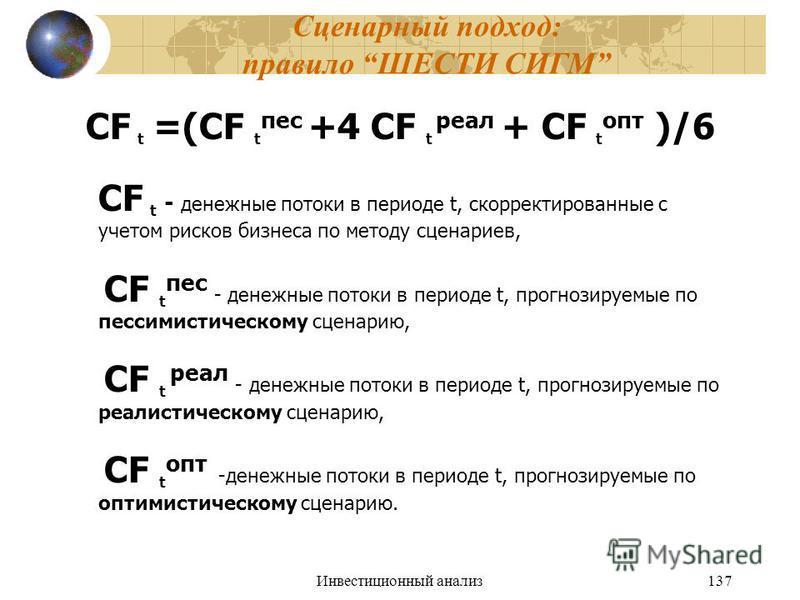 Инвестиционный анализ 137 Сценарный подход: правило ШЕСТИ СИГМ CF t =(CF t пес +4 CF t реал + CF t опт )/6 CF t - денежные потоки в периоде t, скорректированные с учетом рисков бизнеса по методу сценариев, CF t пес - денежные потоки в периоде t, прог
