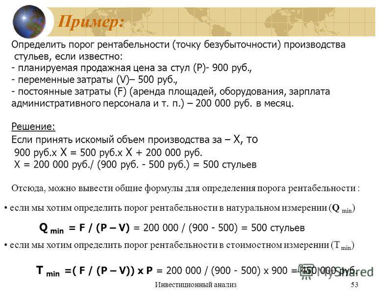 Инвестиционный анализ 53 Пример: Определить порог рентабельности (точку безубыточности) производства стульев, если известно: - планируемая продажная цена за стул (P)- 900 руб., - переменные затраты (V)– 500 руб., - постоянные затраты (F) (аренда площ