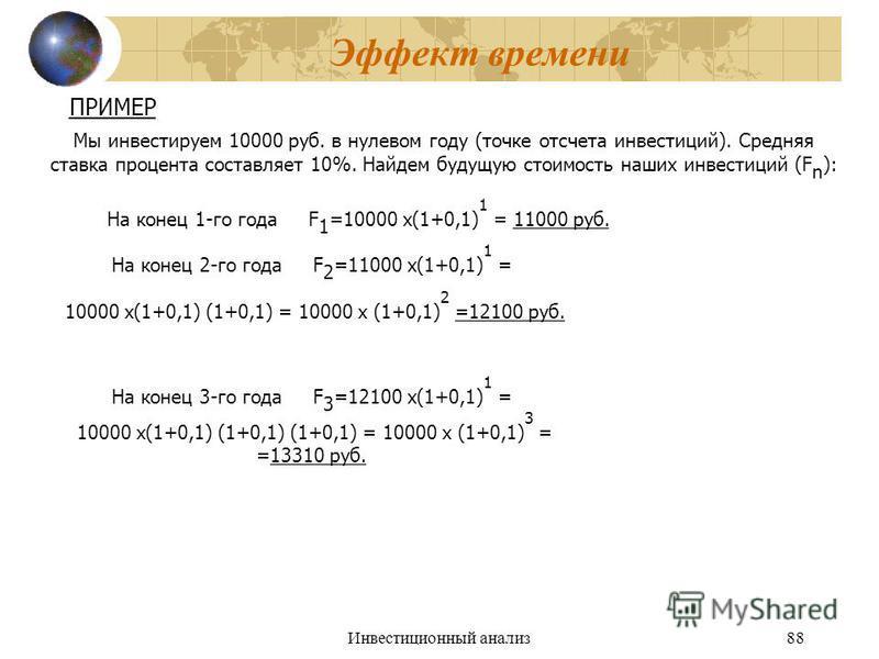Инвестиционный анализ 88 Эффект времени ПРИМЕР Мы инвестируем 10000 руб. в нулевом году (точке отсчета инвестиций). Средняя ставка процента составляет 10%. Найдем будущую стоимость наших инвестиций (F n ): На конец 1-го года F 1 =10000 х(1+0,1) 1 = 1
