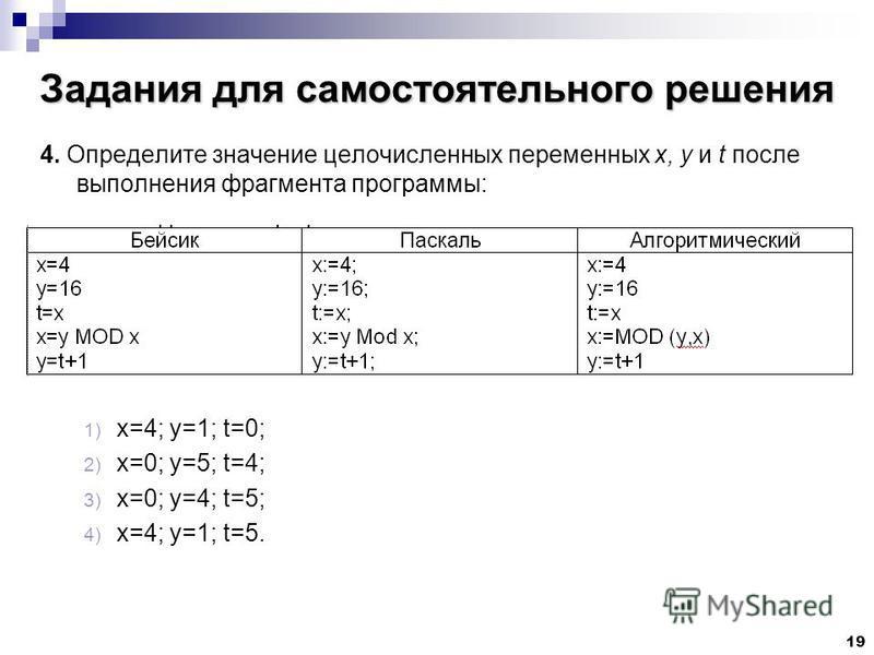 19 Задания для самостоятельного решения 4. Определите значение целочисленных переменных x, y и t после выполнения фрагмента программы: 1) x=4; y=1; t=0; 2) x=0; y=5; t=4; 3) x=0; y=4; t=5; 4) x=4; y=1; t=5.