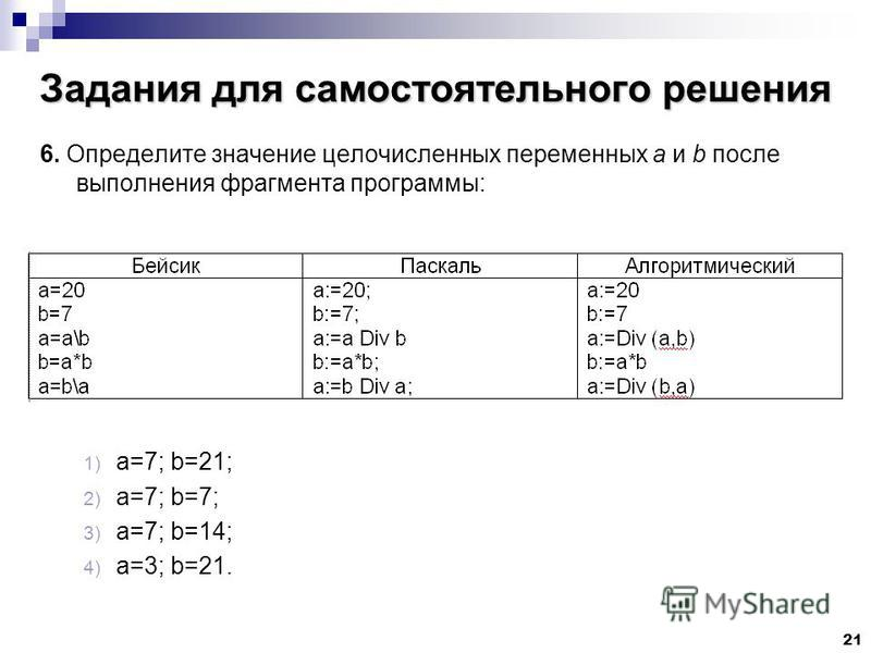 21 Задания для самостоятельного решения 6. Определите значение целочисленных переменных a и b после выполнения фрагмента программы: 1) a=7; b=21; 2) a=7; b=7; 3) a=7; b=14; 4) a=3; b=21.