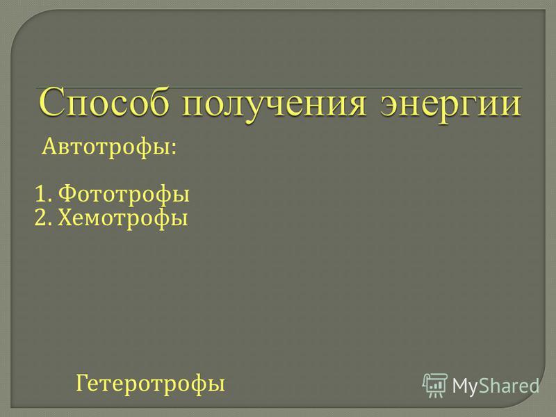 Автотрофы: 1. Фототрофы 2. Хемотрофы Гетеротрофы