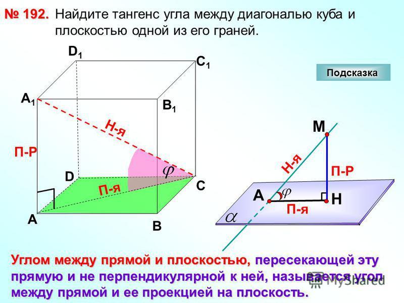 Найдите тангенс угла между диагональю куба и плоскостью одной из его граней. 192. 192. D А В С А1А1 D1D1 С1С1 В1В1 Подсказка Углом между прямой и плоскостью, пересекающей эту прямую и не перпендикулярной к ней, называется угол между прямой и ее проек