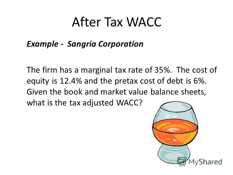 After Tax WACC Example - Sangria Corporation The firm has a marginal tax rate of 35%. The cost of equity is 12.4% and the pretax cost of debt is 6%. Given the book and market value balance sheets, what is the tax adjusted WACC?