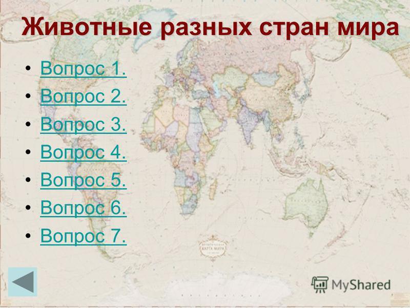 Животные разных стран мира Вопрос 1. Вопрос 2. Вопрос 3. Вопрос 4. Вопрос 5. Вопрос 6. Вопрос 7.