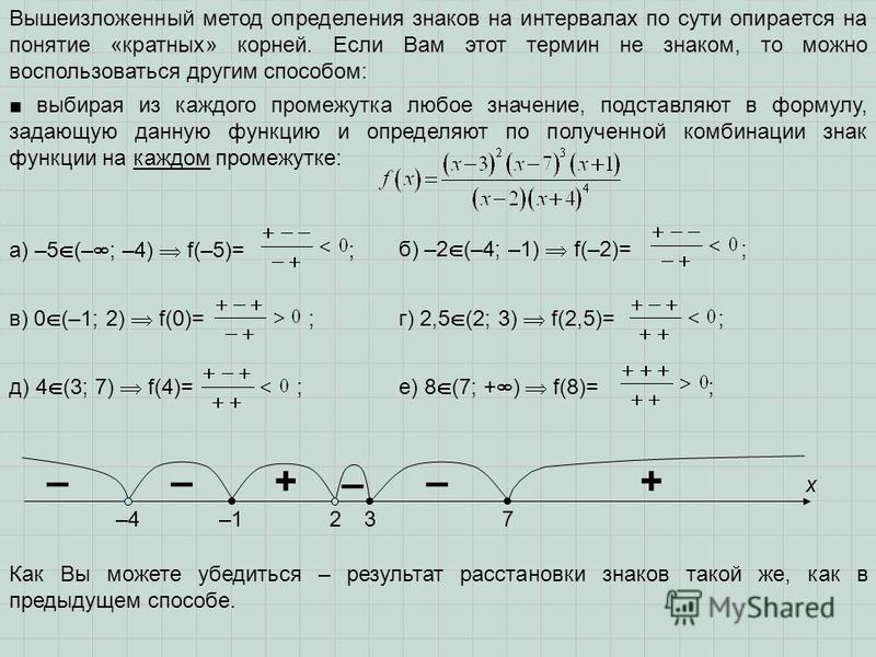 Вышеизложенный метод определения знаков на интервалах по сути опирается на понятие «кратных» корней. Если Вам этот термин не знаком, то можно воспользоваться другим способом: –42 х –137 +– – +–– выбирая из каждого промежутка любое значение, подставля
