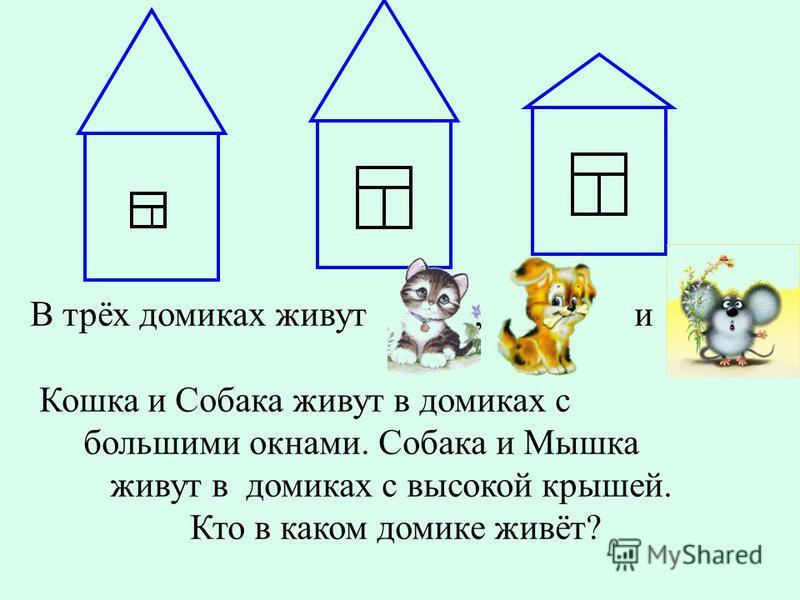 В трёх домиках живут, и Кошка и Собака живут в домиках с большими окнами. Собака и Мышка живут в домиках с высокой крышей. Кто в каком домике живёт?