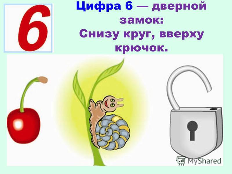 Цифра 6 дверной замок: Снизу круг, вверху крючок.