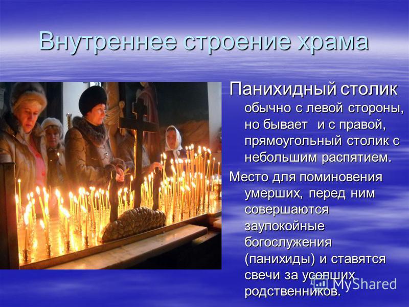 Внутреннее строение храма Панихидный столик обычно с левой стороны, но бывает и с правой, прямоугольный столик с небольшим распятием. Место для поминовения умерших, перед ним совершаются заупокойные богослужения (панихиды) и ставятся свечи за усопших