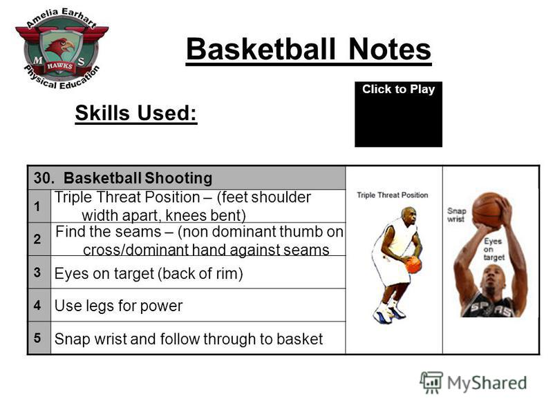 Basketball Notes Skills Used: 30. Basketball Shooting 1 2 3 4 5 Triple Threat Position – (feet shoulder width apart, knees bent) Find the seams – (non dominant thumb on cross/dominant hand against seams Eyes on target (back of rim) Use legs for power