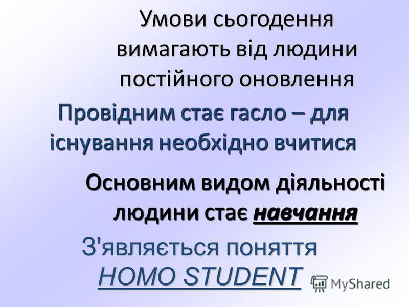 Умови сьогодення вимагають від людини постійного оновлення Основним видом діяльності людини стає навчання Провідним стає гасло – для існування необхідно вчитися З'являється поняття HOMO STUDENT