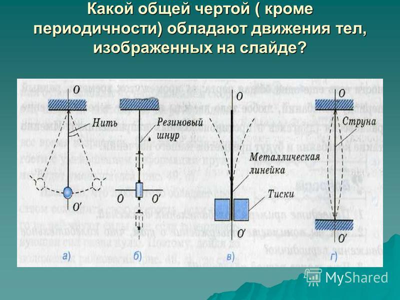 Какой общей чертой ( кроме периодичности) обладают движения тел, изображенных на слайде?